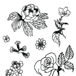 Pen and Ink Flower Symbols