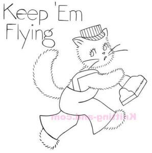 World War 2, Keep em Flying cat embroidery pattern