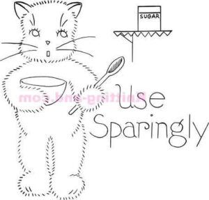 Use sparingly cat, World War 2 embroidery pattern.