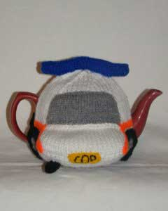 Police car tea cozy