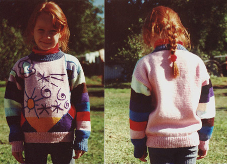 CHild's jumper/sweater with intarsia and embroidered design.