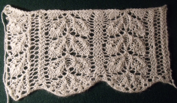 A swatch of lace collar number 6 from Home Work, published 1891