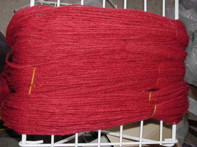 Wool overdyed red