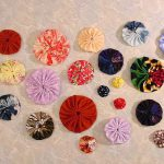 Fabric Yo-Yos and Suffolk Puffs. Round and Square