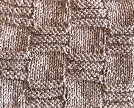 Knit and purl ridged check swatch