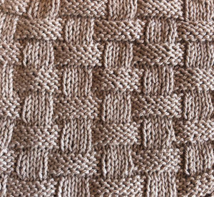 Classic basket stitch pattern in knitting