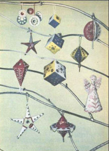 Felt CHristmas decorations decorated with embroidery and sequins