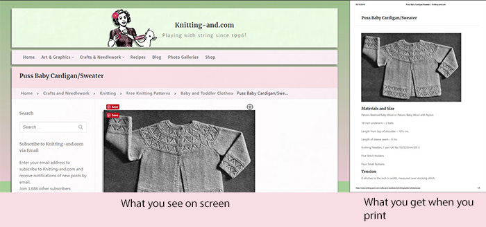 The difference between the on screen and print versions of Knitting-and.com
