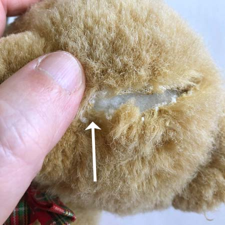Teddy bear with an arrow showing where the new eye will be replaced.