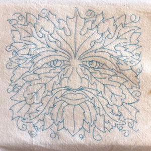 Green man embroidery design