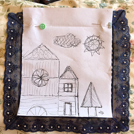 Design for woven stitch embroidery sampler