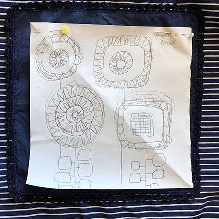 Design for whipped and laced stitches embroidery sampler