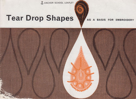 Tear Drop Shapes as a basis for embroidery. Anchor school leaflet