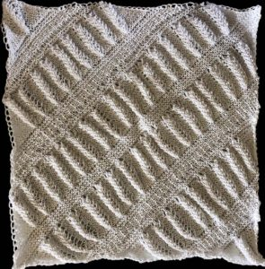 Knitted wheat ear quilt square