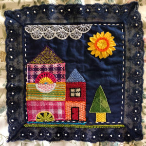 Embroidered woven stitch sampler for Beyond TAST
