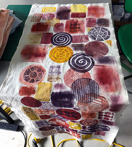 large piece of gelli printed fabric
