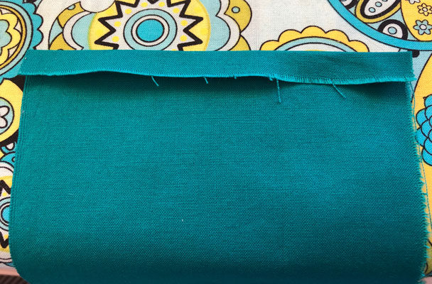 Folding the hem on the short edges