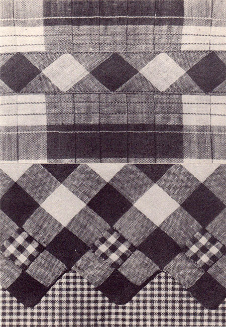 Two fabric samplers, showing ways to manipulate check fabrics to create different looks.