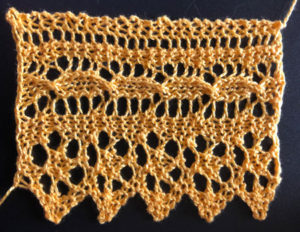 Five repeats of narracoorte knitted lace edging
