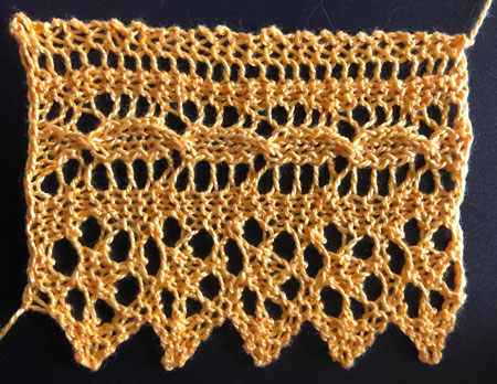 Five repeats of narracoorte lace knitted edging.