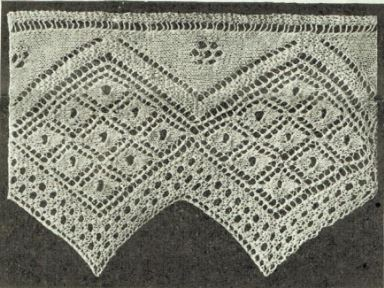 A wide, knitted sawtooth edge lace edging with a series of 9 lace diamonds set inside a large diamond.