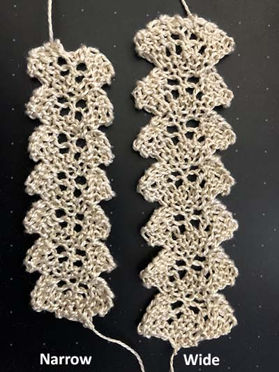 Two knitted braids with points on either side.