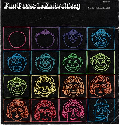 Front cover of Fun Faces in Embroidery by Anchor School Embroidery. 1974