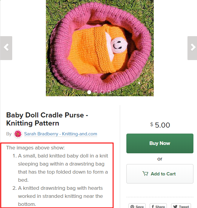 A screenshot of a product page from my Payhip shop showing descriptions of the product photographs in the product description area.
