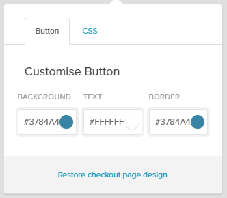 "Screenshot of the ""Customise Button"" colour chooser on Payhip.  The top menu bar reads from left to right, button, css. The ""button"" tab is clicked. Below that are the words ""Customise Button"", underneath which are text boxes containing the hex codes for the background, text and border."