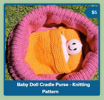 A screenshot from Payhip showing a product link from the main page of my Payhip shop. The image is a square filled with a photo of a knitted toy. Surrounding the box is a thick blue outline.