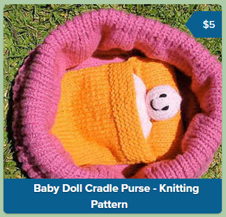 A screenshot from Payhip showing a product link from the main page of my Payhip shop. The image is a square filled with a photo of a knitted toy. At the bottom is an opaque blue bar with the title of the product. On the top right is a short blue flag shape containing the price.