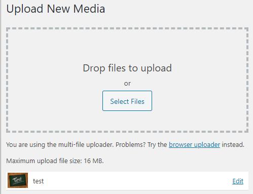 Wordpress media uploader after uploading a new image.